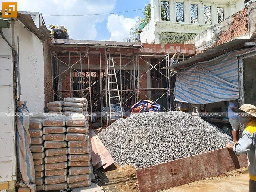 Công tác chuẩn bị vật tư sẵn sàng đổ bê tông