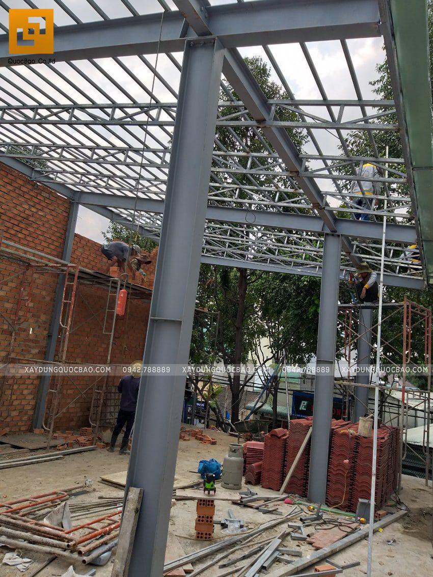 Thi công quán cafe 2 tầng kết cấu thép tại Biên Hòa - Ảnh 17