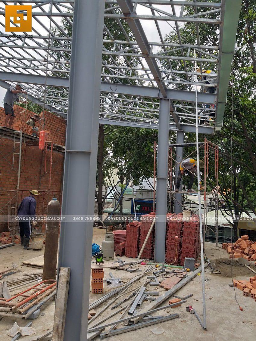 Thi công quán cafe 2 tầng kết cấu thép tại Biên Hòa - Ảnh 13