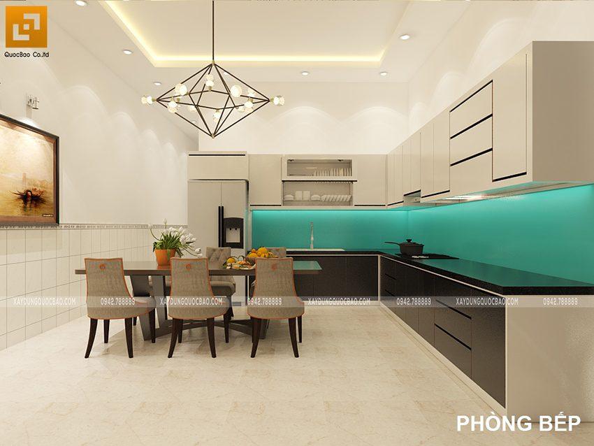Phòng bếp kết hợp với nhà ăn sử dụng tủ kệ bếp gỗ công nghiệp cao cấp mẫu mã đẹp, giá thành phải chăng