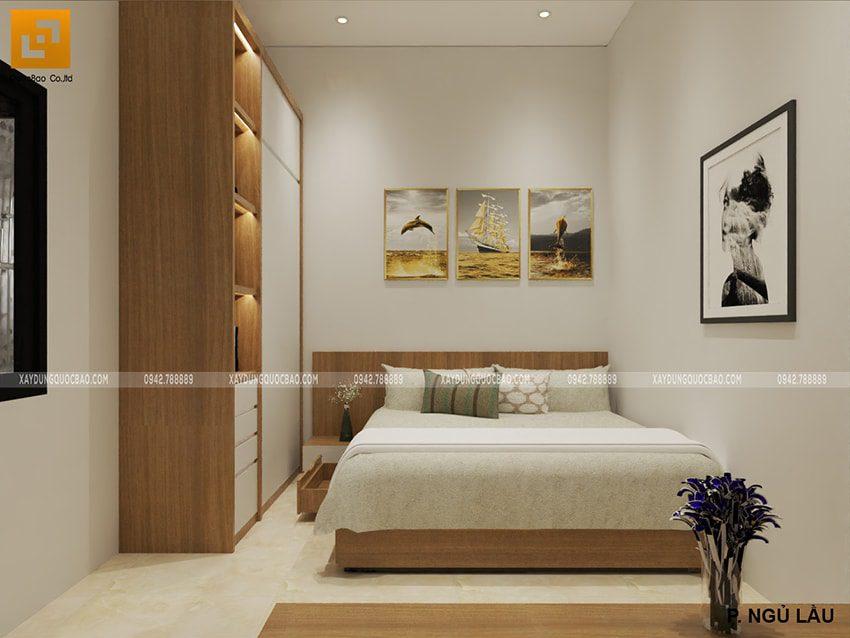 Thiết kế nội thất phòng ngủ lầu 1 nhà mái thái