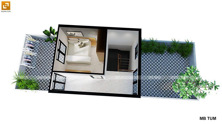 Phối cảnh nội thất tầng tum nhà 3 tầng của chị Thủy