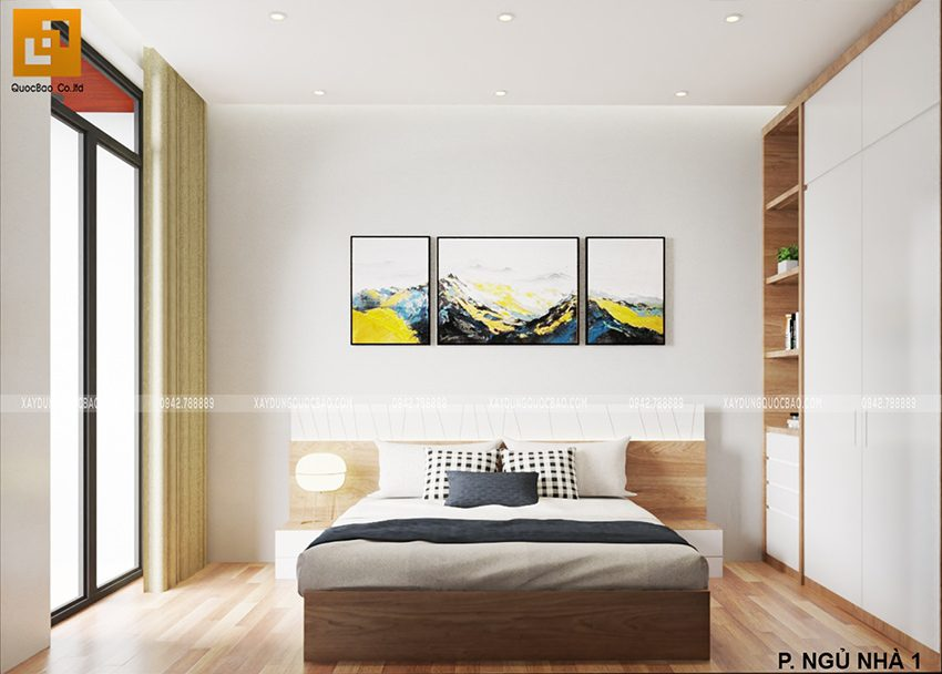 Phòng ngủ nhà chị Thư được trang trí nhẹ nhàng, tông màu dịu mắt giúp giấc ngủ ngon hơn