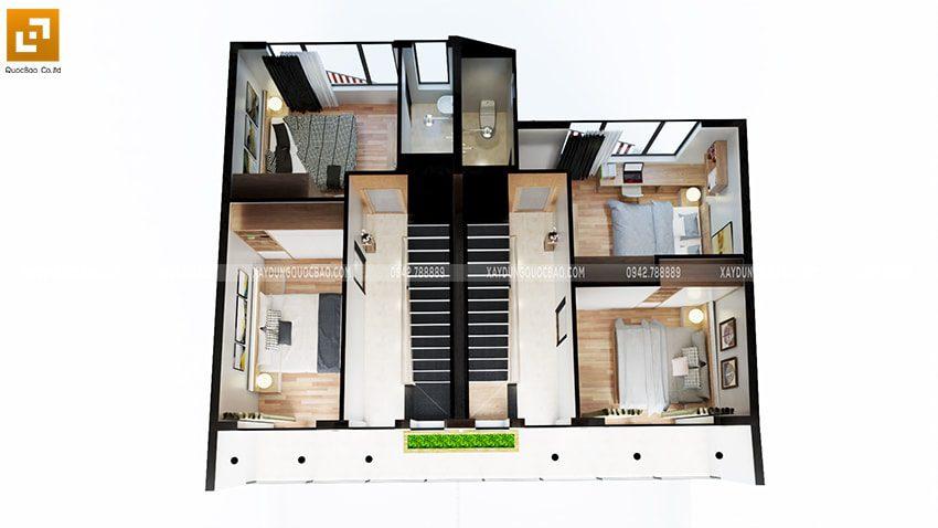 Mẫu thiết kế nội thất lầu 1 của ngôi nhà 3 tầng tại Vĩnh Cửu