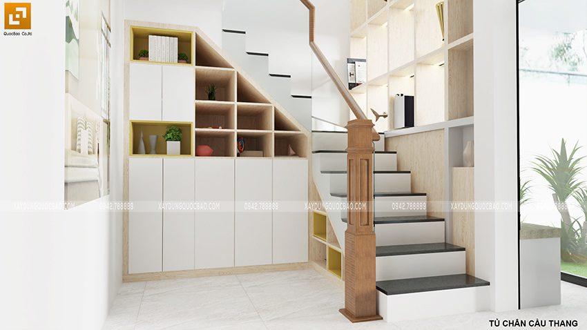 Thiết kế cầu thang mẫu nhà 2 tầng mặt tiền 7m
