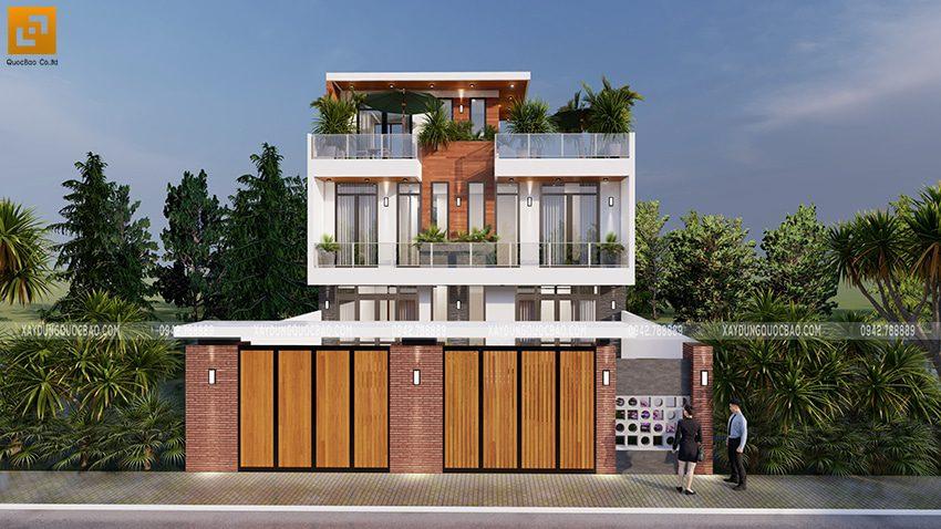 Phối cảnh nhà phố song lập mặt tiền 11,4m chia đôi cho hai chị em tại Vĩnh Cửu
