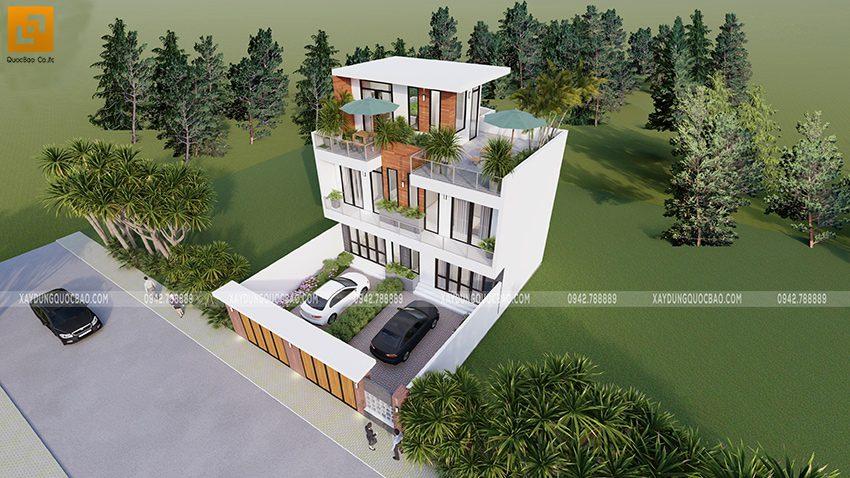 Phối cảnh ngôi nhà mặt tiền 11,4m với 3 tầng hiện đại tại Vĩnh Cửu
