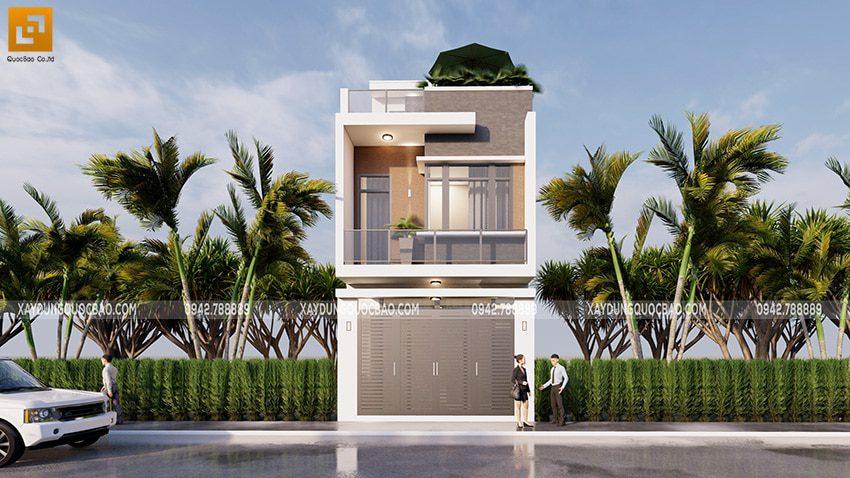 Mặt tiền ngôi nhà được trang trí bằng những ô cửa kính vuông vức