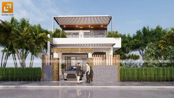 Mẫu thiết kế nhà 2 tầng mặt tiền 7m tại Biên Hòa của anh Thành
