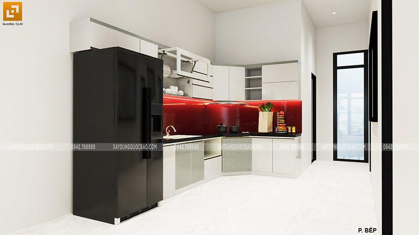 Thiết kế phòng bếp + nhà ăn nhà 2 tầng mặt tiền 7m