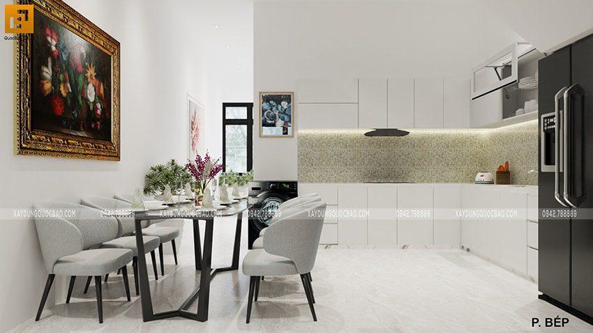 Thiết kế phòng bếp + nhà ăn ngôi nhà mặt tiền 5m của chị Thủy