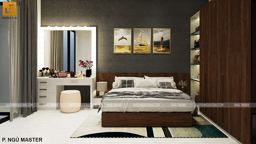Thiết kế phòng ngủ master mẫu nhà 2 tầng mặt tiền 7m