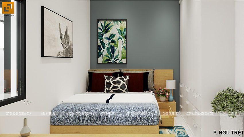 Phòng ngủ của ông bà bố trí ở tầng trệt để thuận tiện cho người lớn tuổi khi đi lại trong nhà.
