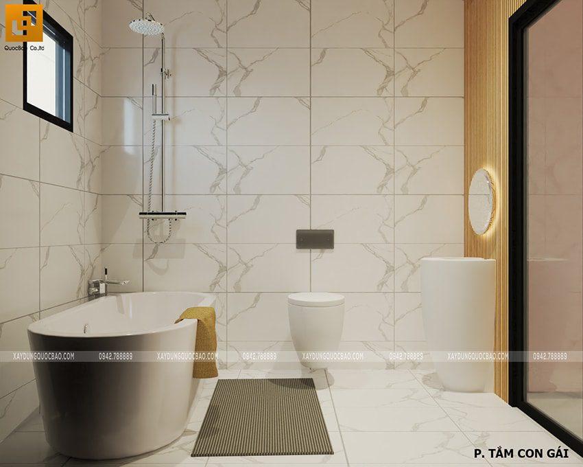 Thiết kế phòng tắm cho con gái mẫu nhà 2 tầng mặt tiền 7m