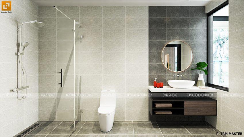 Phối cảnh phòng tắm master với bồn tắm đứng, bồn tắm nằm, bồn rửa tay