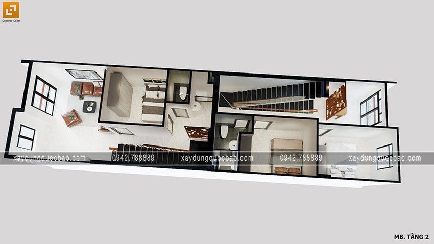 Bố trí phòng ngủ ở lầu 1 của nhà mái thái có 2 mặt tiền