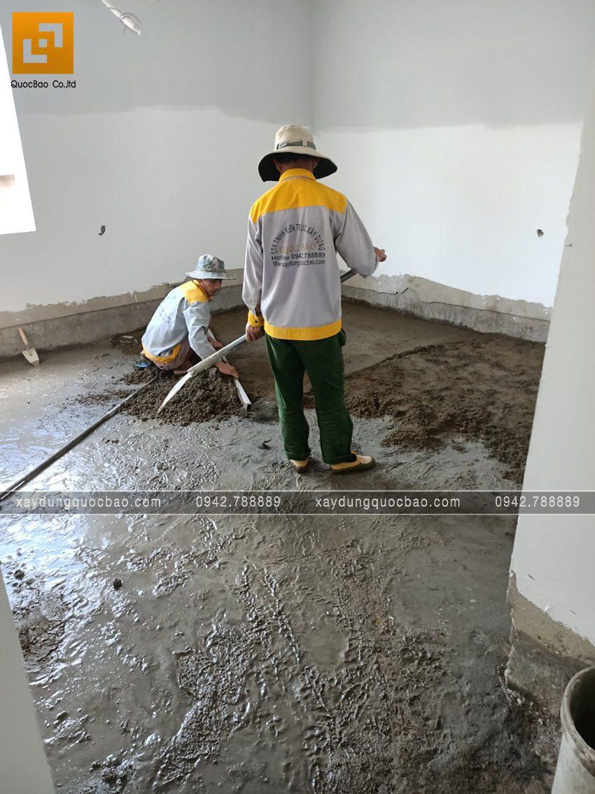 Công tác láng nền nhà trong các phòng