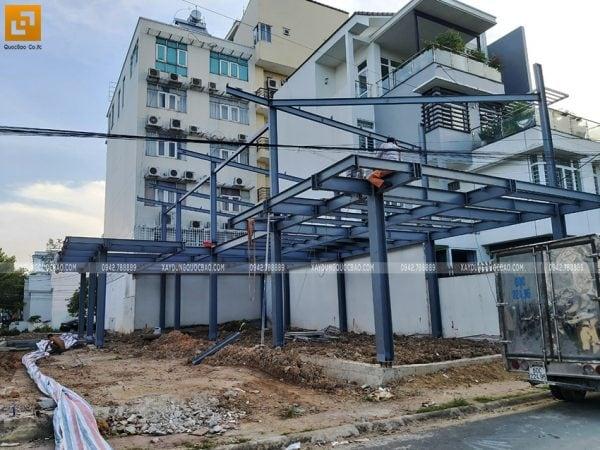 Lắp đặt khung thép quán cà phê 2 tầng - Ảnh 5