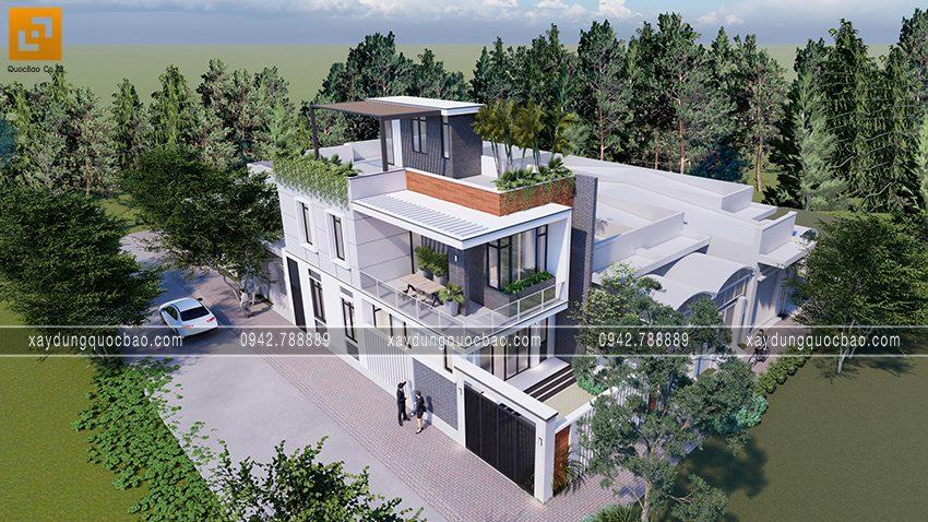 Phối cảnh nhà 3 tầng mặt tiền 6,9m tại Biên Hòa