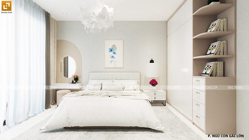 Mỗi phòng ngủ đều sử dụng giường ngủ thông minh, kệ đặt tivi và các họa tiết trang trí trên tường