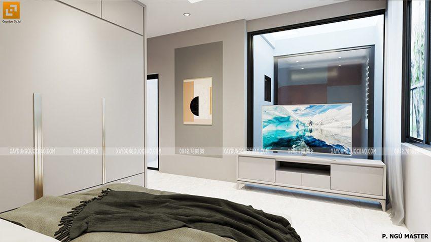 Phòng ngủ master đầy đủ nội thất cao cấp: Tủ đựng quần áo, kệ tivi, giường đôi, bàn trang điểm, đèn đọc sách