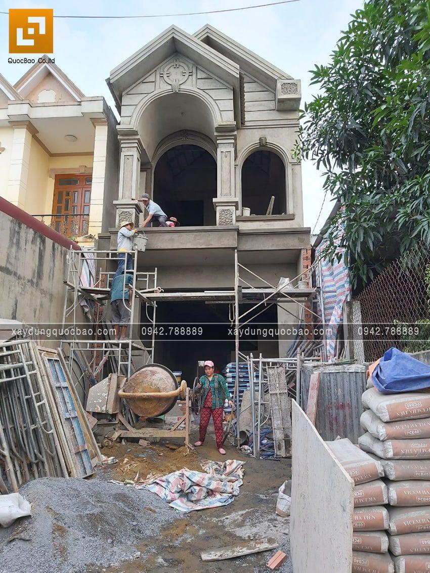 Thi công hoàn thiện mặt tiền nhà phố 2 tầng