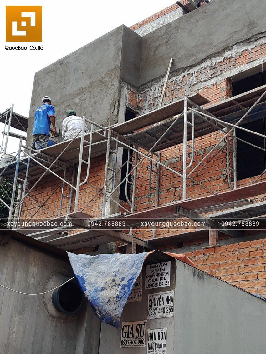 Thi công phần thô nhà 3 tầng đẹp của chị Ngân - Ảnh 7