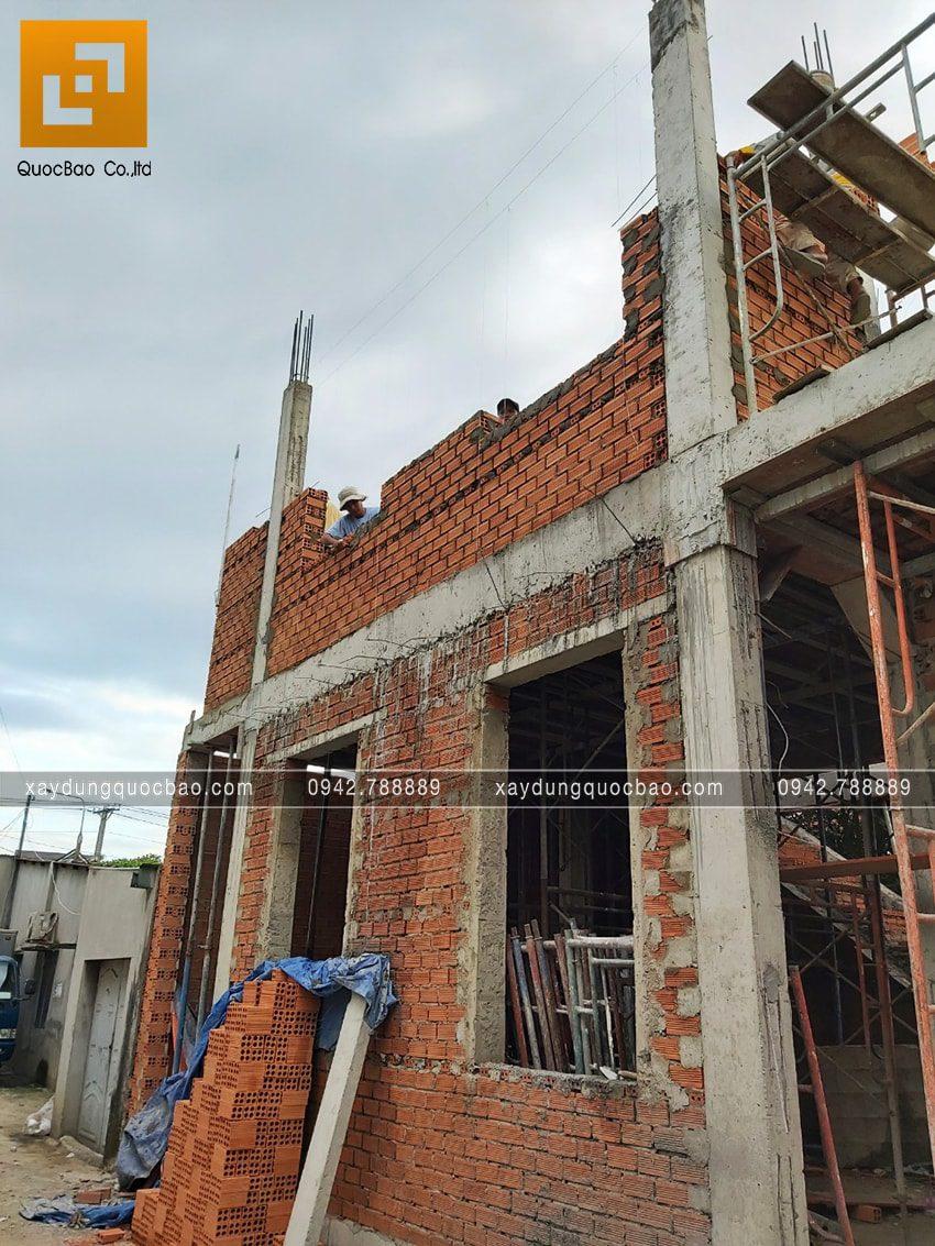 Thi công phần thô nhà 3 tầng đẹp của chị Ngân - Ảnh 1