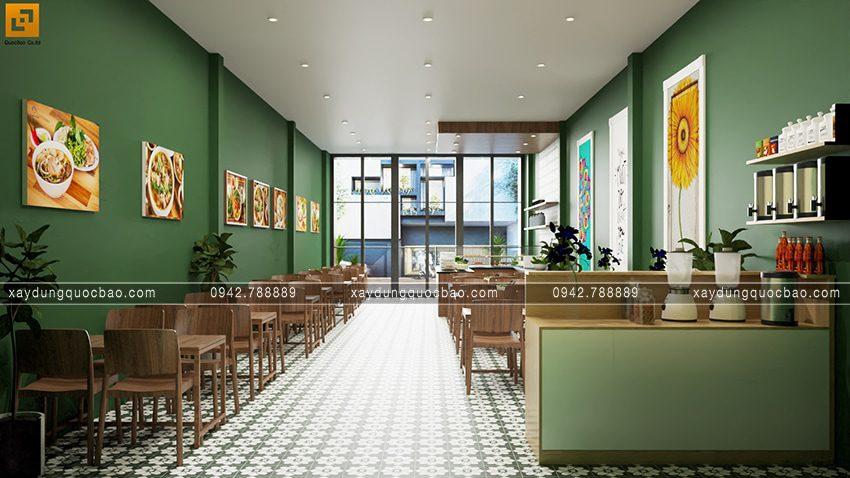 Khu vực bếp bố trí ở phía sau để giúp cửa hàng thuận tiện cho việc nấu nướng, chuẩn bị món cho khách.