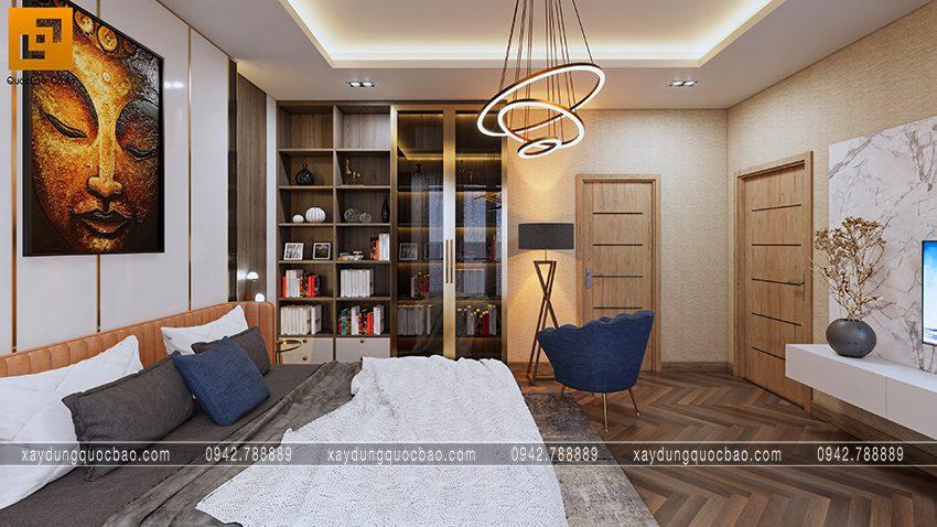 Tủ sách và tủ đựng vật dụng trang trí  bố trí trong phòng ngủ