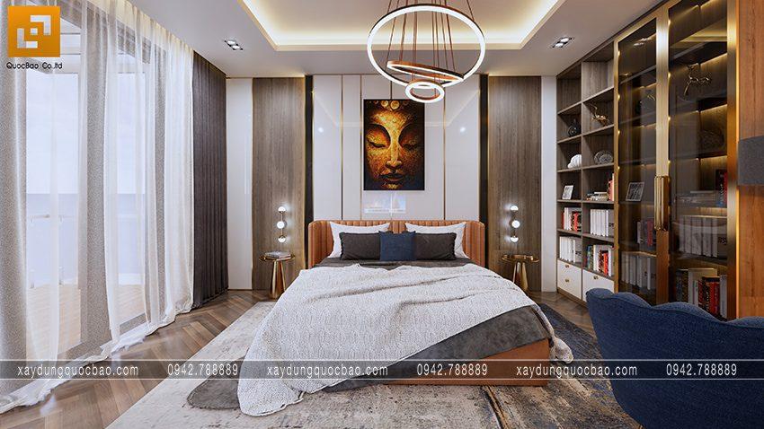 Phối cảnh phòng ngủ master của biệt thự phố 3 tầng