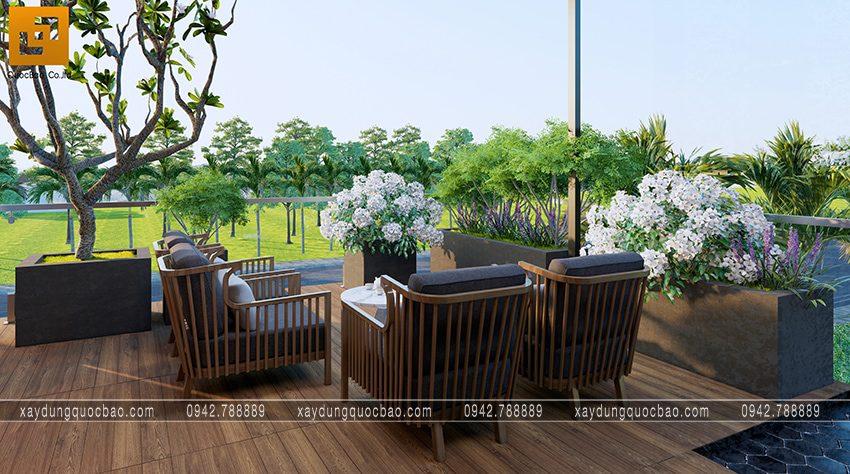 Bộ bàn ghế sofa kê ở không gian thiên nhiên tối ưu sự thoải mái, tận hưởng luồng gió mát tự nhiên
