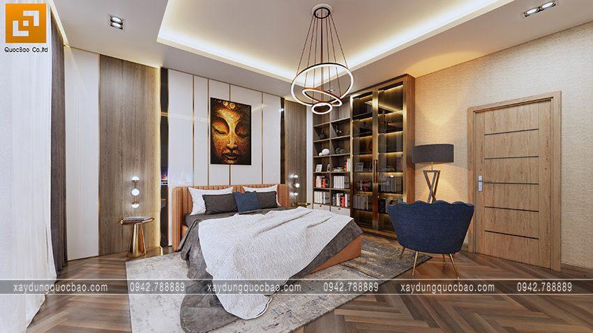 Mảng tường trang trí gam màu dịu nhẹ, giấy dán tường cách điệu giúp không gian nội thất thêm quyến rũ