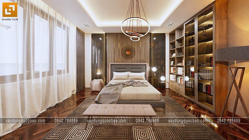 Phòng ngủ master thứ 2 được thiết kế đậm sắc, cửa sổ 4 cánh giúp tối đa ánh sáng trời