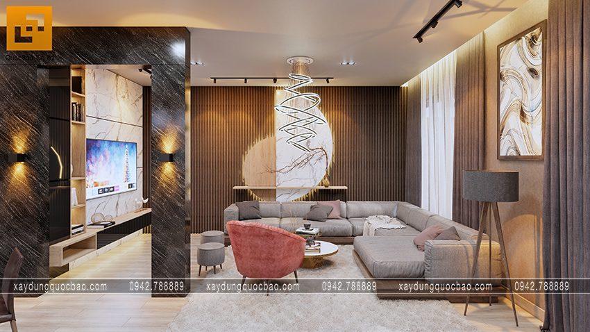 Bộ bàn ghế sofa cao cấp kết hợp với thảm lông trơn đem lại sự sang trọng cho phòng khách