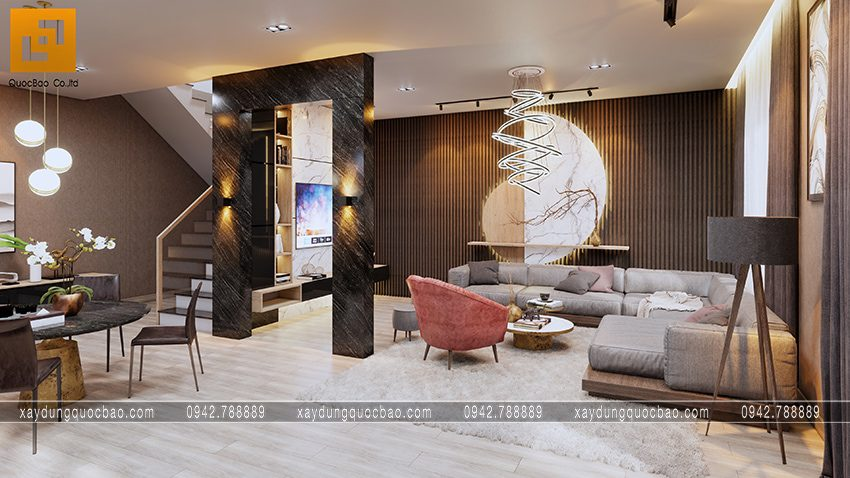 Phối cảnh nội thất phòng khách hiện đại nổi bật với những vách tường chính phụ trang trí gam màu nhẹ nhàng