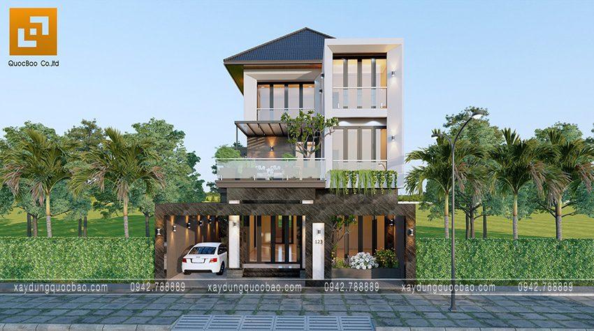Phối cảnh biệt thự phố 3 tầng mái Nhật gia đình anh Phúc tại Biên Hòa, Đồng Nai