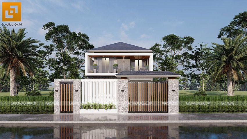 Biệt thự mái Nhật 2 tầng tại Trảng Bom của gia đình anh Phong