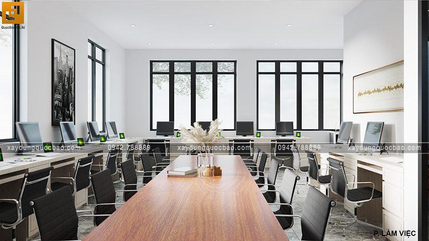 Bố trí bàn làm việc riêng và bàn họp bên trong văn phòng