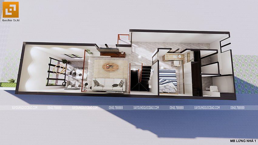 Mặt bằng tầng lửng nhà cấp 4 mái thái