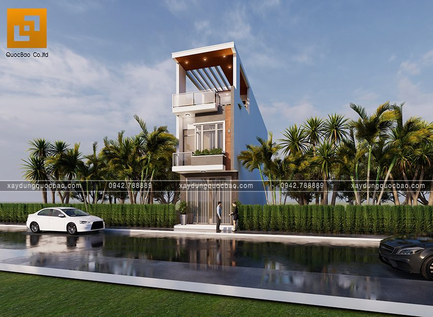 Phối cảnh ngoại thất nhà 3 tầng hiện đại tại Biên Hòa - Ảnh 2