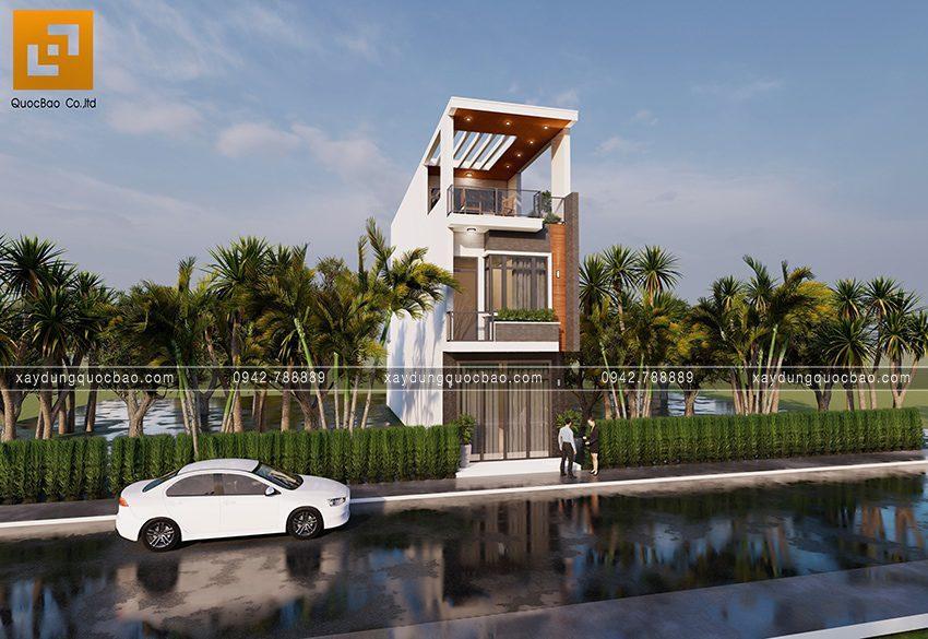 Phối cảnh ngoại thất nhà 3 tầng hiện đại tại Biên Hòa - Ảnh 3