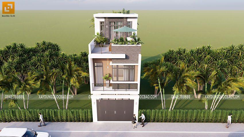 Phối cảnh thiết kế ngoại thất nhà ống 3 tầng tại Bình Dương - Ảnh 1