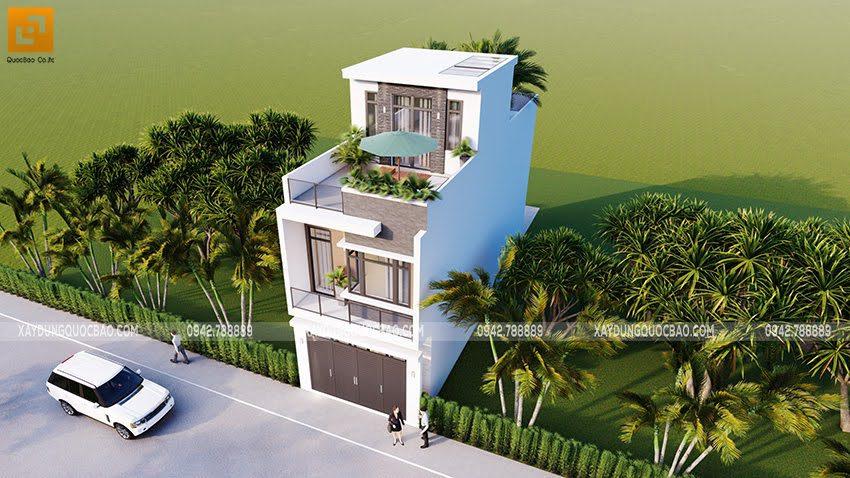 Phối cảnh thiết kế ngoại thất nhà ống 3 tầng tại Bình Dương - Ảnh 5