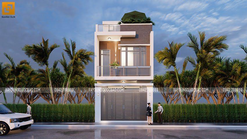 Phối cảnh thiết kế ngoại thất nhà ống 3 tầng tại Bình Dương - Ảnh 7
