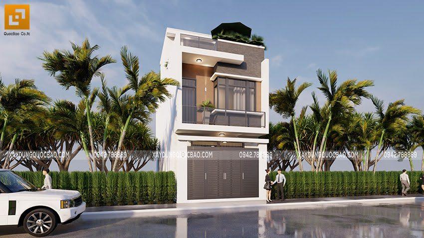 Phối cảnh thiết kế ngoại thất nhà ống 3 tầng tại Bình Dương - Ảnh 4