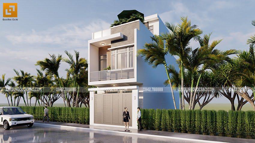 Phối cảnh thiết kế ngoại thất nhà ống 3 tầng tại Bình Dương - Ảnh 3