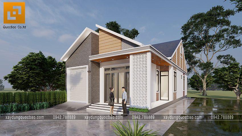 Nhà mái lệch 1 tầng mặt tiền 8m tại Vĩnh Cửu của gia đình anh Quang