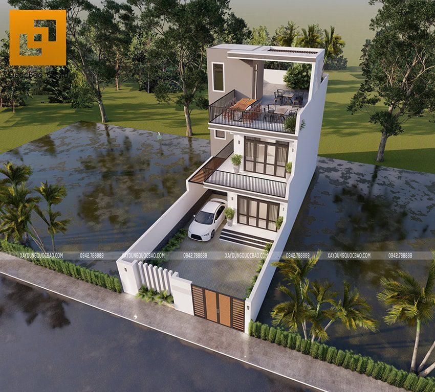 Phối cảnh ngoại thất nhà 3 tầng tại Vĩnh Cửu của chú Thanh - Ảnh 5