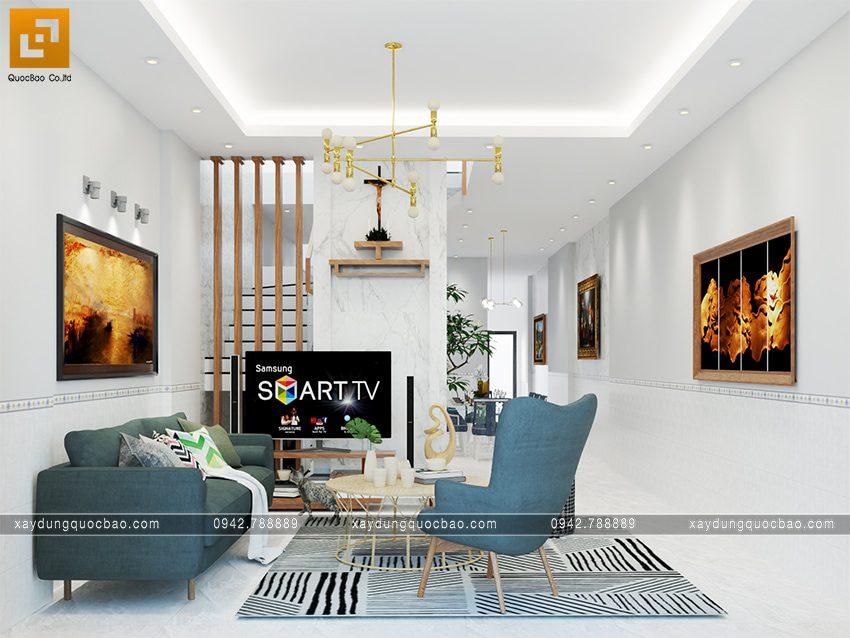 Thiết kế nội thất phòng khách nhà mái thái